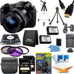Sony Cyber-shot DSC-RX10 Digital Camera and 2 64 GB SDHC Cards and 2 Batteries Bundle