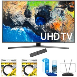 "Samsung 48.5"" 4K Ultra HD Smart LED TV 2017 Model (UN49MU7000) with 2x 6ft High Speed HDMI Cable Black, Universal Screen Cleaner for LED TVs & Durable HDTV and FM Antenna"