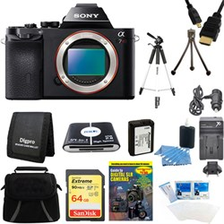 Sony Alpha 7R a7R Digital Camera 64 GB SDXC Card, Battery, and Tripod Bundle