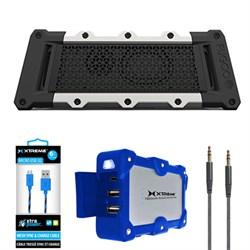 Fugoo Tough Port. Waterproof B.tooth Speaker Black/Silver w/ Power Bank Charger Bundle E1FUGF6TFKS01