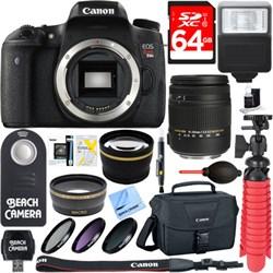 Canon EOS Rebel T6s Digital SLR Camera Body + Sigma 18-25...