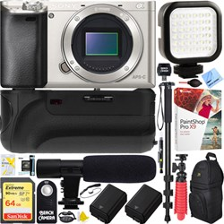 Sony a6000 Interchangeable Lens Camera Body Silver Batter...