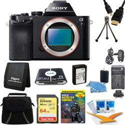 Sony Alpha 7 a7 Digital Camera 64 GB SDHC Card, Battery Bundle