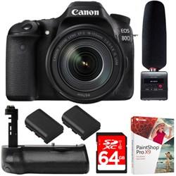 Canon EOS 80D CMOS DSLR Camera + USM Lens +Tascam Audio R...
