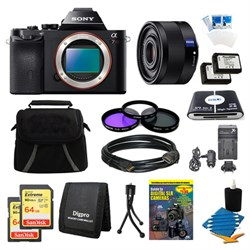 Sony Alpha 7R a7R Digital Camera, 35mm Lens, 2 64 GB SDHC Cards, 2 Batteries Bundle