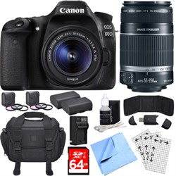 Canon EOS 80D CMOS DSLR Camera w/ EF-S 18-55mm + 55-250mm...
