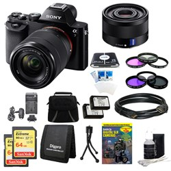 Sony Alpha 7K a7K Digital Camera, 35mm Lens, 2 64 GB SDHC Cards, 2 Batteries Bundle
