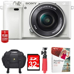 Sony Alpha a6000 24.3MP White Interchangeable Lens Camera...