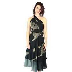 Iris Impressions 100 Way Wrap Skirt Dress, Tropical - Black (One Size) IRIS8OMBREK