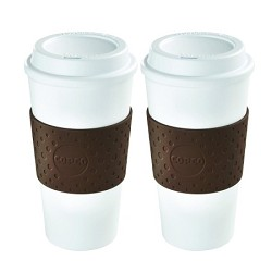 Copco 16 Ounce Eco-First Acadia Mug White/Brown - 2 Pack E1CPC25109961