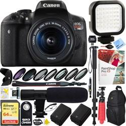 Canon EOS T6i DSLR Camera+18-55mm Lens + 64G Dual Battery...
