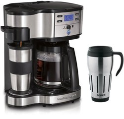 Hamilton Beach Two Way Brewer Single Serve and 12 cup Coffee Maker w/ Thermal Travel Mug Bundle E1HB49980