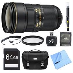 Nikon 24-70mm f/2.8E ED VR AF-S NIKKOR Zoom Lens 64GB Bundle