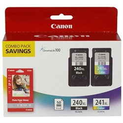 Canon 5206B005 (PG-240XL/CL-241XL) High Yield Black and Color Ink Cartridge Combo Pack CN5206B005