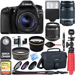 Canon EOS 80D CMOS DSLR Camera 18-55mm & 55-250mm Dual Le...