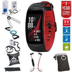 Samsung Gear Fit2 Pro Fitness Smartwatch Red Small+7-in-1 Fitness Kit+Extended Warranty E2SAMGEARFIT2PSR