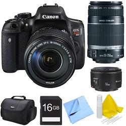Canon EOS Rebel T6i Digital SLR Camera with 18-135mm STM, 55-250mm, 50mm Lens Bundle