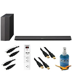 Sony 300W 2.1 Sound Bar with Wireless Subwoofer Plus Hook-Up Bundle - HT-CT370