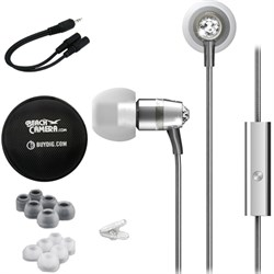 MEElectronics Crystal In-Ear Headphones with Microphone Silver w/ Case Bundle E1MEEEPM11JSL