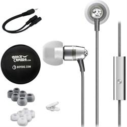 MEElectronics Crystal In-Ear Headphones with Microphone Silver w/ Case Bundle E1MEEEPM11JSL