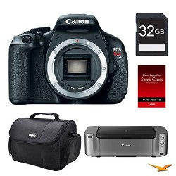 Canon EOS T3i DSLR Camera (Body), 32GB, Printer Bundle - PRICE AFTER $100.00 REBATE