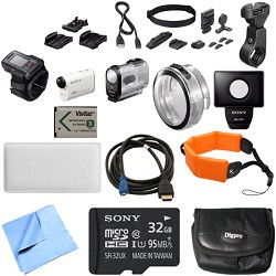 Sony FDR-X1000VR/W 4K Action Cam and LiveView Remote Kit Handle Bar Mount Bundle