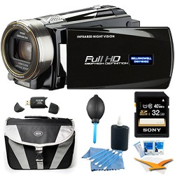 Bell and Howell HD 16 MP Infrared Night Vision Camcorder - Black (DNV16HDZ-BK) Plus 32 GB Bundle