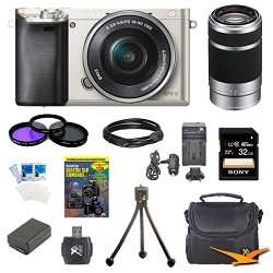Sony Alpha a6000 24.3MP Silver Interchangeable Lens Camer...