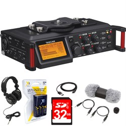 TASCAM Portable Recorder for DSLR DR-70D + 32 GB Card + H...