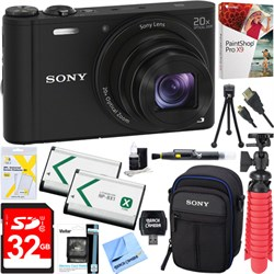 Sony Cyber-shot DSC-WX350 Digital Camera (Black) + 32GB D...