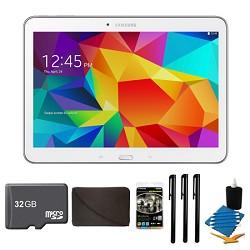 Samsung Galaxy Tab 4 White 16GB 10.1 Tablet, 32GB Card, and Case Bundle