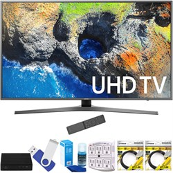 "Samsung UN55MU7000FXZA 54.6"" 4K Ultra HD Smart LED TV (2017 Model) Plus Terk Cut-the-Cord HD Digital TV Tuner and Recorder 16GB Hook-Up Bundle"