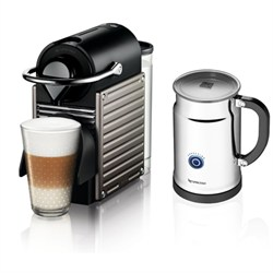Nespresso Pixie Espresso Maker With Aeroccino Plus Milk Frother, Electric Titan NESAC60USTINE