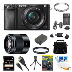 Sony Alpha a6000 Black Camera with 16-50mm Lens, 50mm Lens, and 32GB Card Bundle E6SNILCE6000LB