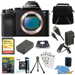 Sony ILCE-7S/B a7S Full Frame Camera 64GB SDXC Card & Bat...