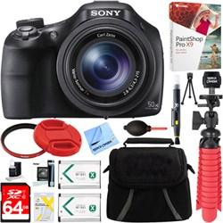 Sony DSC-HX400V/B 50x Opt Zoom Digital Camera + 64GB SD C...