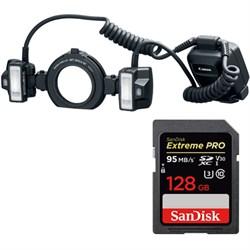 Canon Macro Twin Lite MT-26EX-RT Flash + Sandisk 128GB UH...