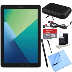 Samsung Galaxy TAB A 10.1 Tablet PC Black W/ S PEN 32GB Bundle Includes Tablet, 32GB Microsd Card, Microfiber Cloth, Cleaning KIT, Stylus PEN With Clip, Protective Neoprene Sleeve And Metal EAR Buds