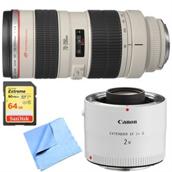 Canon EF 70-200mm F/2.8L USM Lens w/ Telephoto Extender +...