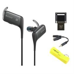 Sony Sport Bluetooth In-Ear Headset - Black w/ 32GB Flash Drive Bundle