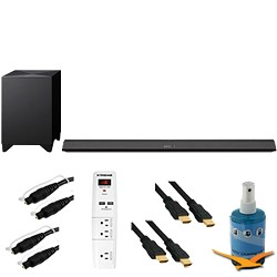 Sony 330W 2.1ch Sound Bar with Wireless Subwoofer Plus Hook-Up Bundle - HT-CT770