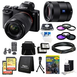 Sony Alpha 7K a7K Digital Camera, 55mm Lens, 2 64 GB SDHC Cards, 2 Batteries Bundle