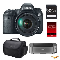 Canon EOS 6D DSLR Camera 24-105mm Lens, 32GB, Printer Bundle