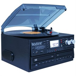 Boytone BT-29B, Bluetooth Dual CD Player and Recorder CD2 to CD1, AM/FM Radio&Turntable BOYTBT29B
