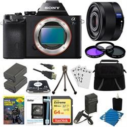 Sony ILCE-7S/B a7S Full Frame Camera, 35mm Lens, 64GB SDX...