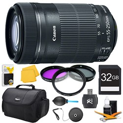Canon EF-S 55-250 f/4-5.6 IS STM (8546B002) Pro Lens Kit ...