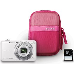 Sony DSC-WX80 16 MP 2.7-Inch LCD Digital Camera - White Bundle