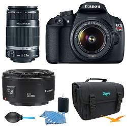 Canon EOS Rebel T5 18MP DSLR Camera w/ 18-55mm & 75-300 & 50mm F/1.8 Lens Kit