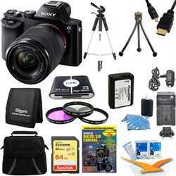 Sony Alpha 7K a7K Digital Camera 64 GB SDHC Card Tripod and Battery Bundle