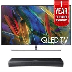 QN65Q7F Flat 65-Inch 4K Ultra HD Smart QLED TV (2017 Model) w/ Samsung 4K Ultra HD Blu-ray Player & 1 Year Extended Warranty
